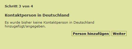 Das Bild zeigt die Angabe einer Kontaktperson in Deutschland.