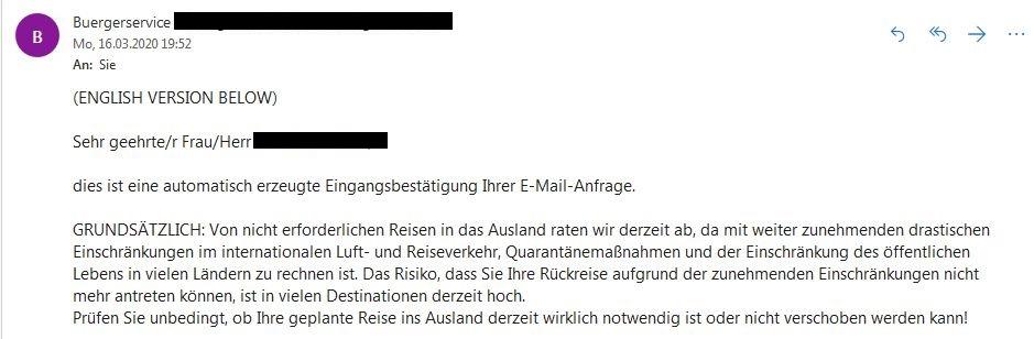 Das Bild zeigt eine Mail des Auswärtigen Amtes.