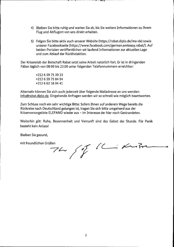 Das Bild zeigt den öffentlichen Landsleutebrief.