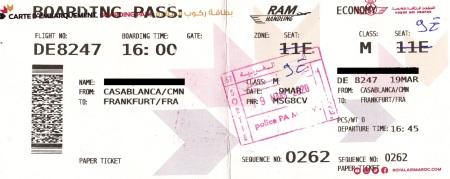 Das Bild der Bordkarte von Casablanca nach Frankfurt.