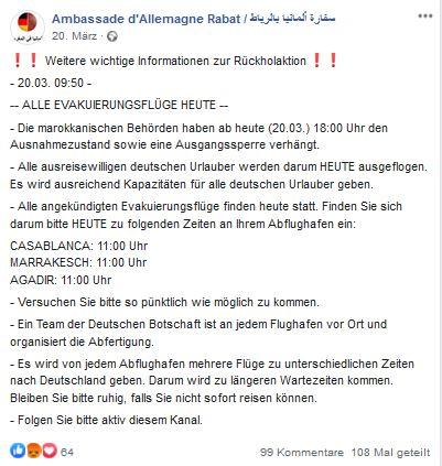 Das Bild zeigt eine Facebook-Nachricht der Botschaft.